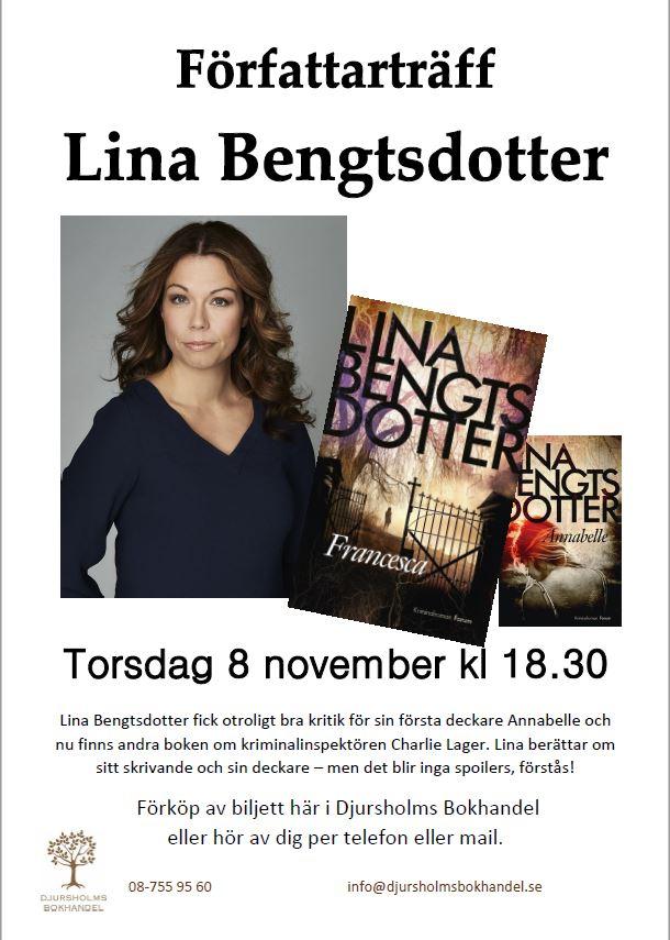 Välkomna på författarträff med Lina Bengtsdotter torsdagen den 8 november da233a95359e5